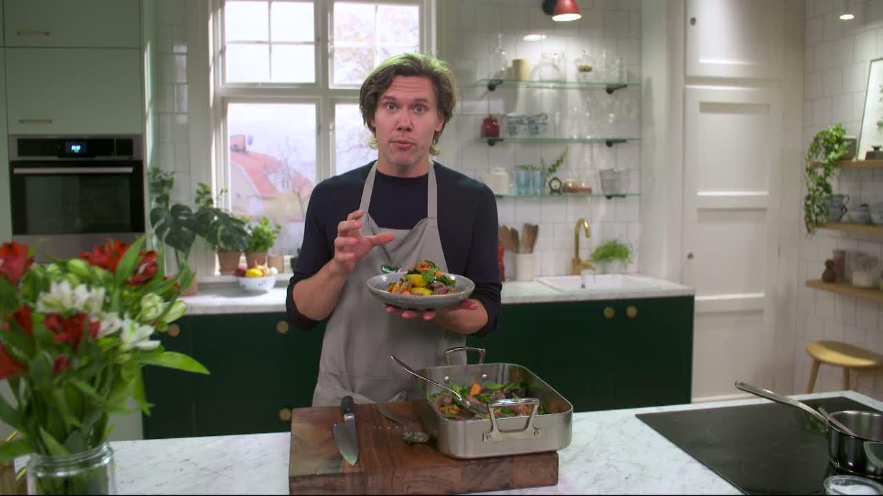 Kökets middag: Flankstek med rostade morötter, dragon och brynt smör