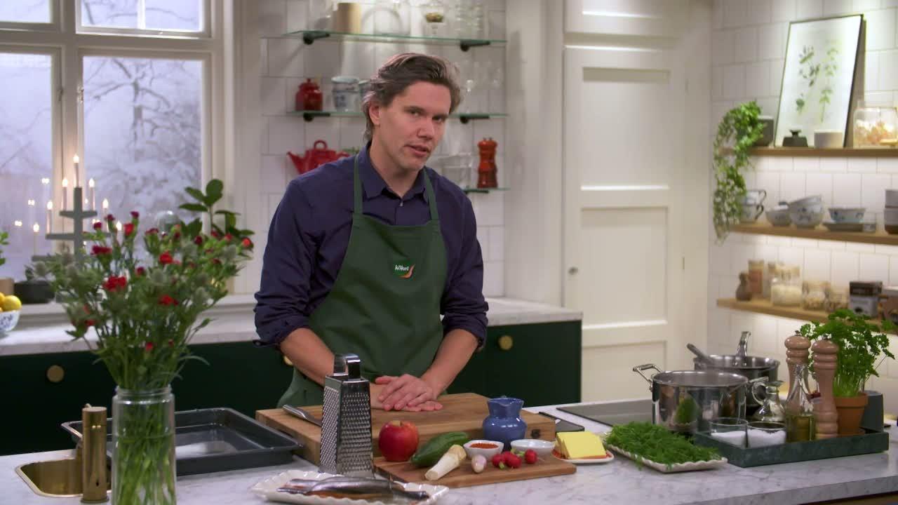 Kökets middag: Röding med gurka, äpple, pepparrot