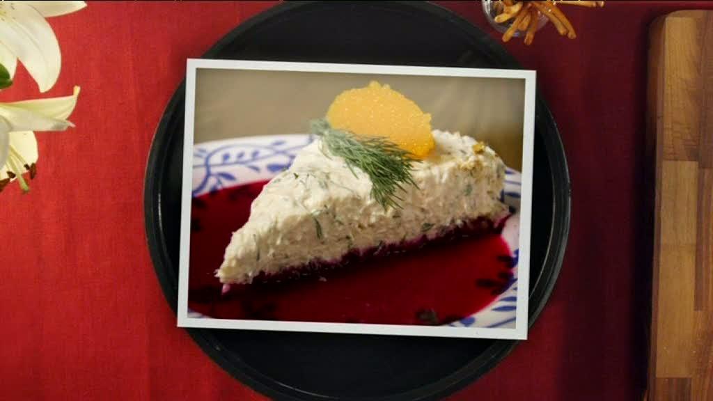 Förrätt: Salmon cheesecake med löjrom och rödbetsvinägrett - Halv åtta hos mig i Halmstad