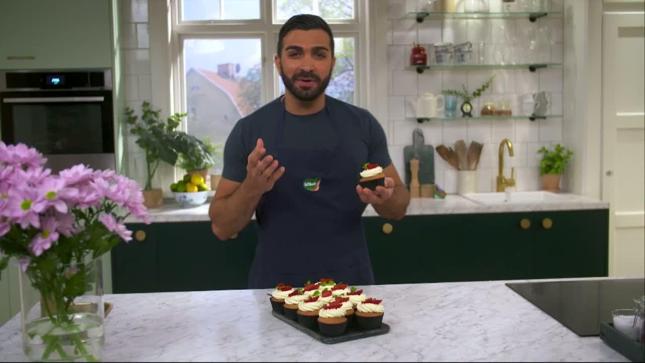 Kökets baktips: Cupcake med mascarpone och hallonsylt