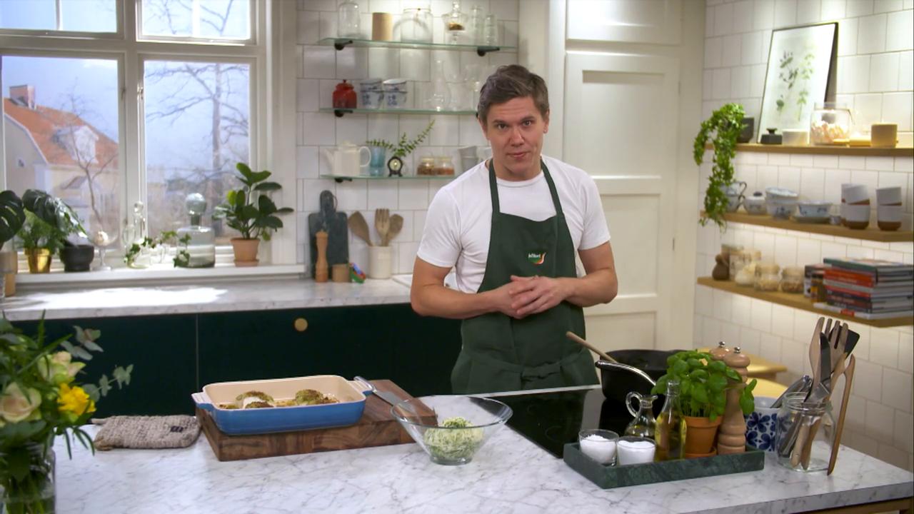 Kökets middag: Ugnsbakad sej med potage på potatis- och purjolök