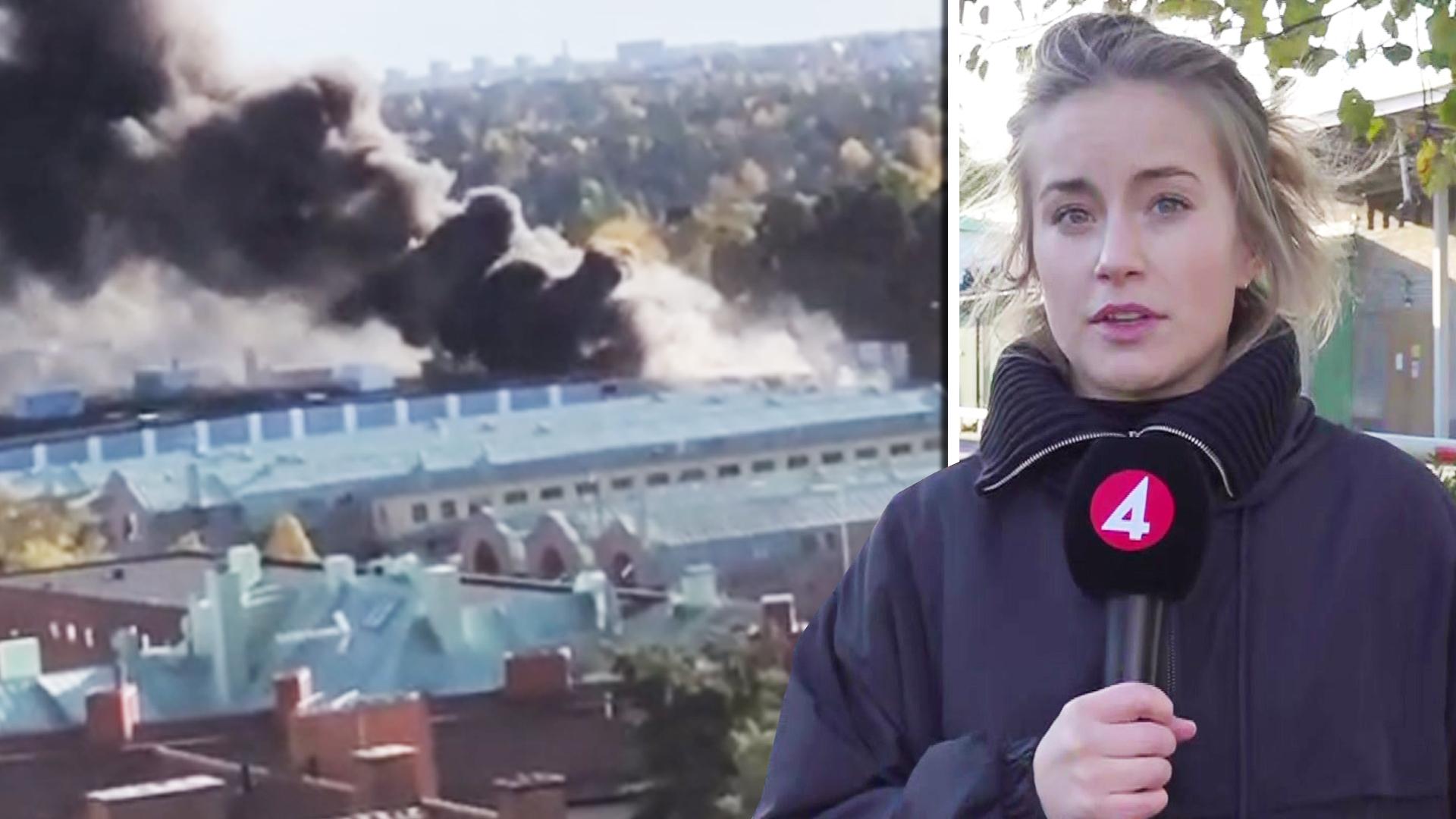 Storbrand nära Globen i Stockholm – kraftig rökutveckling